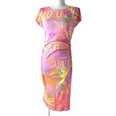 極美品◎正規品 レオナール ファッション コットン サイドギャザー ノースリ 超ロング ワンピース/ドレス ピンク×マルチ 総柄 M 日本製