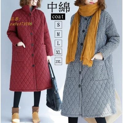チェック柄中綿コート コート レディース カジュアル 40代暖かい 冬 中綿 ロング丈 冬服 アウター 冬 30代