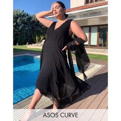 エイソス レディース ワンピース トップス ASOS DESIGN Curve soft layered maxi dress with tie waist detail