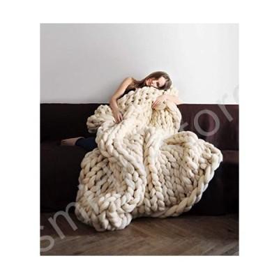 """新品未使用!!送料無料!!Knit Chunky Blanket Giant Throw Merino Wool Yarn Hand Made Bed Sofa Chair Mat(Beige 32""""x40"""")"""