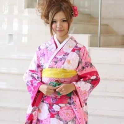 振袖 レンタル 20点フルセット「ピンク ローズ 牡丹 桜」2月~12月上旬