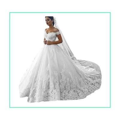 Princess Women's Off Shoulder Lace Wedding Dresses for Bride 2020 Wedding Gowns Court Train Bridal Gowns Ivory 14並行輸入品