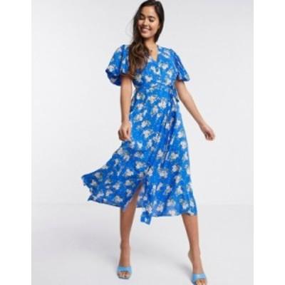 リバーアイランド レディース ワンピース トップス River Island floral button through midi dress in blue Blue