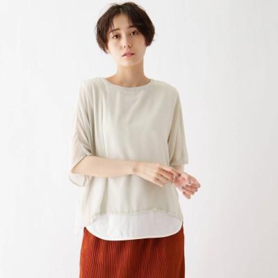 シューラルー SHOO-LA-RUE tricot tricot 楊柳シフォン重ね着風Tシャツ (ライトグレー)