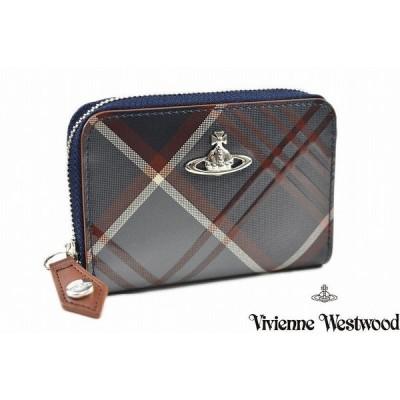 ヴィヴィアン ウエストウッド コインケース 財布 レディース ブランド Vivienne Westwood ベルテッド タータン 箱無 ネイビー 紺