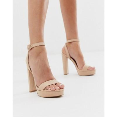 エイソス ASOS DESIGN レディース サンダル・ミュール シューズ・靴 Nutshell platform barely there heeled sandals in beige ベージュ