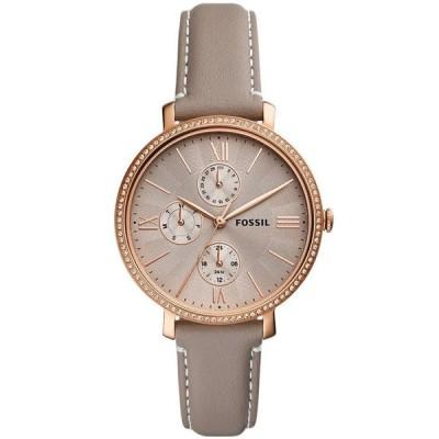 フォッシル レディース 腕時計 アクセサリー Women's Jaqueline rose gold tone multifunction movement gray leather watch 38mm