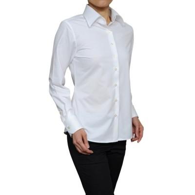 レディース シャツ ビジネス ワイシャツ ブラウス ビズポロ ニット 長袖 ワイド クールマックス イージーケア クールビズ 日本製 ナチュラルフィット 大きい