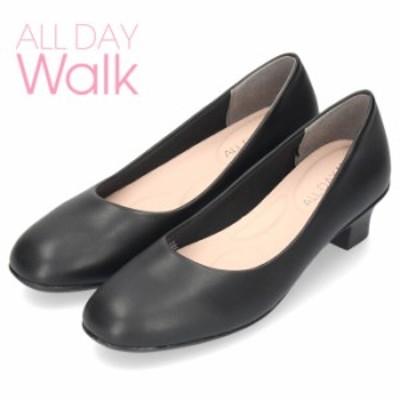 オールデイウォーク 靴 パンプス ローヒール ALD2640 黒パンプス ブラックスムース 2E ワイズ リボン ラウンドトゥ