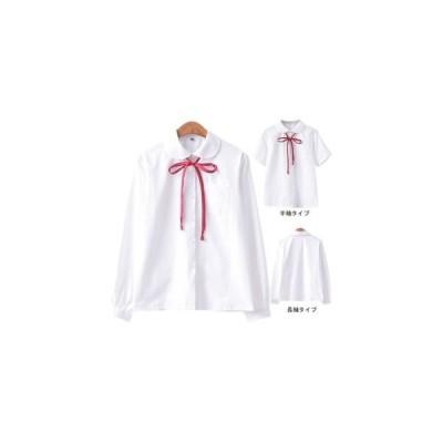 レディース 長袖シャツ 半袖シャツ KL 折り襟 ブラウス 蝶結びリボン ワイシャツ 女性用 トップス シャツ スクール風 レトロ シ