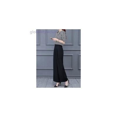パンツ 夏物 セットアップ シャツ 普段着 OL キャリアウーマン 大きいサイズ レディース 女性 ブラック