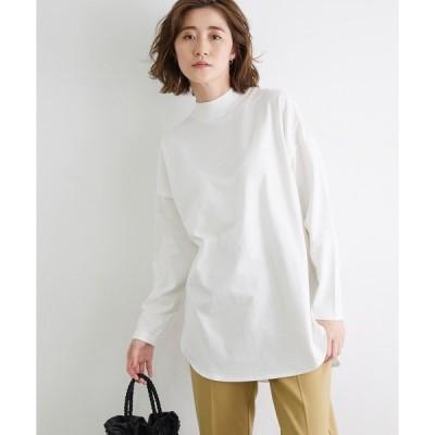 tシャツ Tシャツ モックネックラウンドロングTシャツ