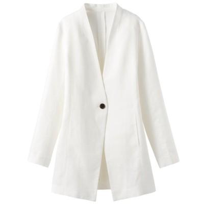 ロングカラーレスジャケット(手洗いOK)/オフホワイト/3L
