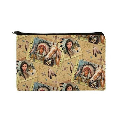 Native American Horse Wolf Southwestern Pattern Makeup Cosmetic Bag Organizer Pouch