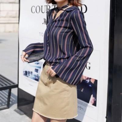 トレンド&人気のお品 セットアップ ツーピース ストライプ フェミニン ミニスカート シャツ 可愛い メリハリ