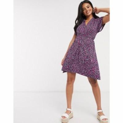 フレンチコネクション French Connection レディース ワンピース ラップドレス ワンピース・ドレス wrap dress in pink leopard ピンク