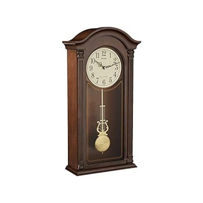 Seiko Gold Tone & Arched Wall Clock with Pendulum and Dual Chimes