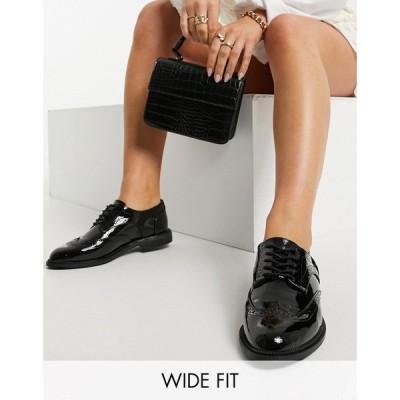 エイソス ASOS DESIGN レディース スリッポン・フラット レースアップ シューズ・靴 Asos Design Wide Fit More Flat Lace Up Shoes In Black ブラック