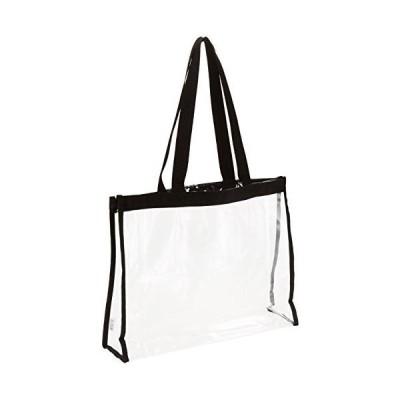 透明エコバッグ トートバッグ Mサイズ 透明ビニール 黒フチ 幅35 高さ28 マチ10cm CB-3528 痛バッグ