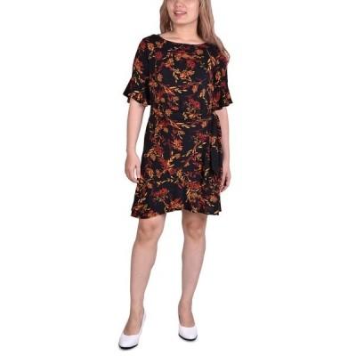 ニューヨークコレクション ワンピース トップス レディース Petite Belted Bell-Sleeve Dress Black Floral