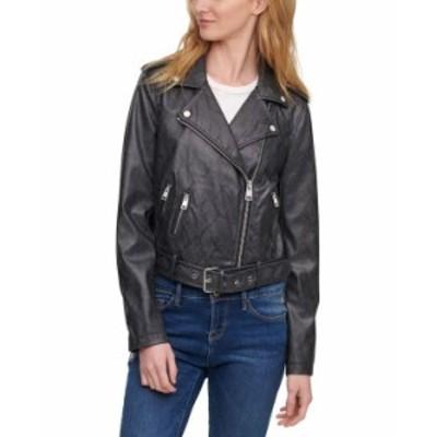 リーバイス レディース ジャケット・ブルゾン アウター Women's Faux-Leather Moto Jacket Black/gray Snake