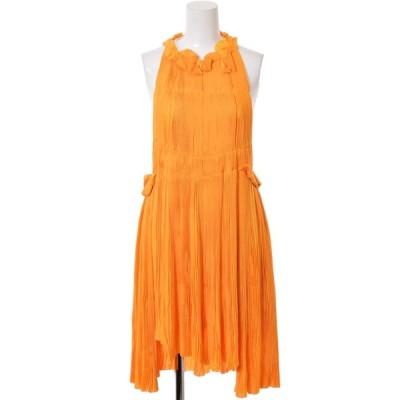 SONIA RYKIEL サンフラワー プリーツ ドレス 36 オレンジ ソニアリキエル