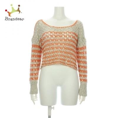 フリーピープル 長袖セーター サイズL レディース 新品同様 オレンジ系 ニット・セーター   スペシャル特価 20210414