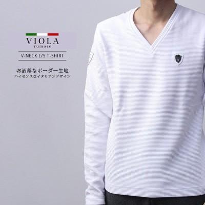 VIOLA RUMORE Tシャツ ヴィオラルモア Tシャツ 長袖 メンズ ロンT トップス イタリア イタリアン ビター系 BITTER PRINT V-NECK A91129