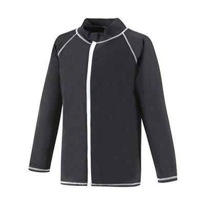【Asbrio】ラッシュガード キッズ メンズ レディース 長袖 豊富なサイズ 80?170cm UVカット (ブラック 80)