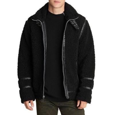 カール ラガーフェルド メンズ ジャケット・ブルゾン アウター Faux Shearling Moto Jacket