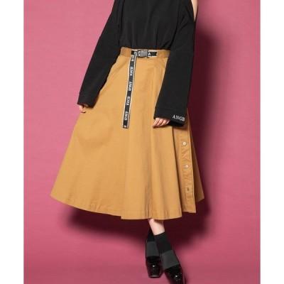 スカート サイドボタンフレアスカート