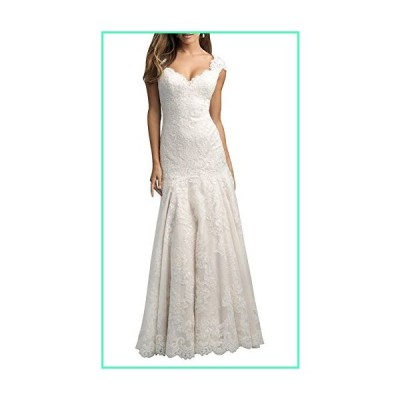 Dapene Women's Mermaid Train Zipper UpBridal Wedding Dress Ivory Custom並行輸入品