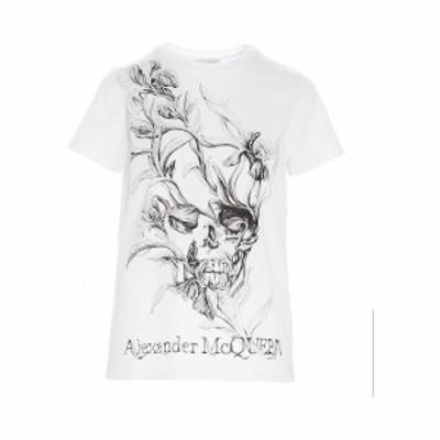 ALEXANDER MCQUEEN/アレキサンダー マックイーン Tシャツ Bianco nero レディース 春夏2020 634224QZABT0900 ju