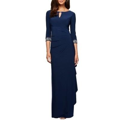 アレックスイブニングス レディース ワンピース トップス Petite Size Side Ruched Embellished Cuff Gown Cobalt