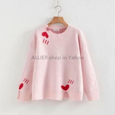 レディースファッション ピンクのかわいいハート形のセーター特大のトップスプラスサイズのセーター女性服プルオーバーOネックピンク愛長袖レディース  pi