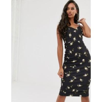 エイソス レディース ワンピース トップス ASOS DESIGN floral tie back midi dress Black