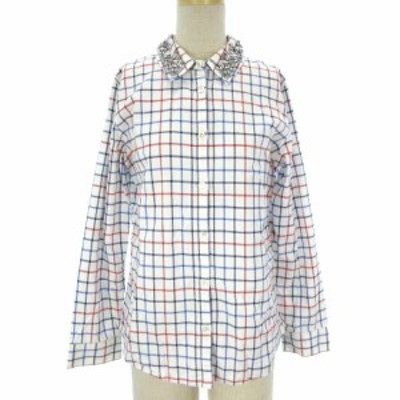 【中古】チェスティ Chesty シャツ ブラウス 長袖 チェック 装飾 ビジュー ストレッチ 白 ホワイト 0 レディース