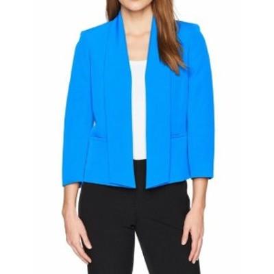 Imperial インペリアル ファッション 衣類 Kasper NEW Imperial Blue Womens Size 4 Stretch Crepe Flyaway Jacket