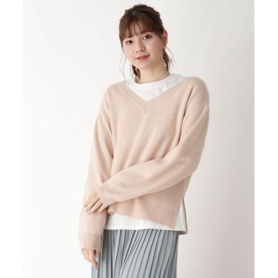 pink adobe(ピンクアドベ) 【M-LL/SET】ロンT付き Vネックニット