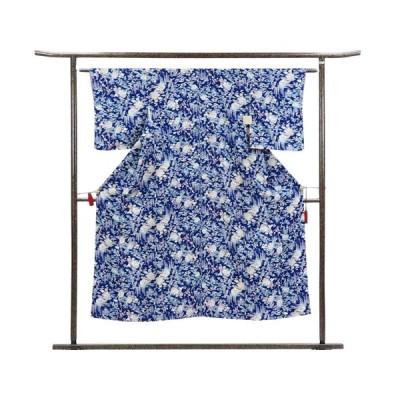 リサイクル着物 小紋 正絹紺地花柄袷小紋着物未着用品
