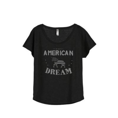 レディース 衣類 トップス Thread Tank American Dream Unicorn Women's Relaxed Slouchy Dolman T-Shirt Tee Heather Black Small Tシャツ