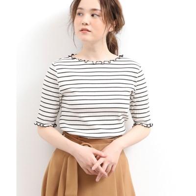 ViS 配色メローランダムテレコ半袖プルオーバー(オフホワイト(15))【返品不可商品】