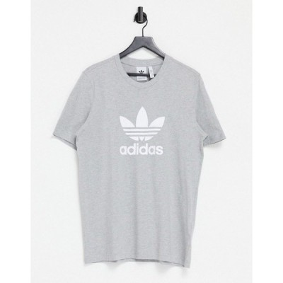 アディダスオリジナルス メンズ Tシャツ トップス adidas Originals adicolor t-shirt in gray heather with large logo Grey