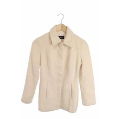 【中古】ビッキー VICKY クチュール COUTURE コート ロング ステンカラー アンゴラ ウール混 1 白 ホワイト /RI29 レディース