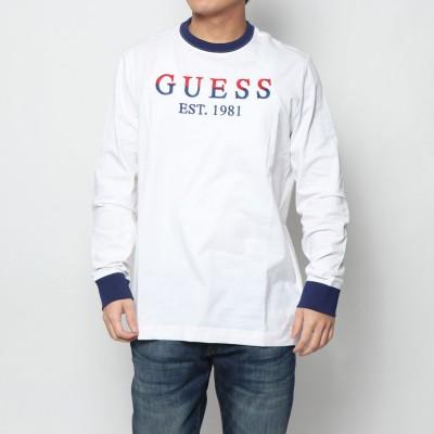 ゲス GUESS HERBERT LOGO L/S TEE (TRUE WHITE)