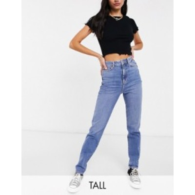 ニュールック レディース デニムパンツ ボトムス New Look Tall waist enhance mom jean in authentic blue Mid blue