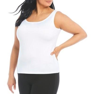 インベストメンツ レディース カットソー トップス Slim Factor by Investments Plus Size Lexi Scoop Neck Soft Stretch Tank Top White