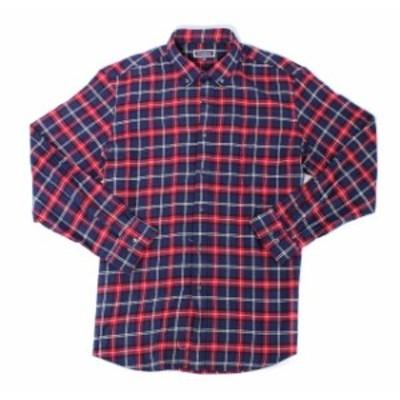 Plaid  ファッション アウター Club Room Mens Red Navy Blue Size XL Plaid Print Button Down Shirt