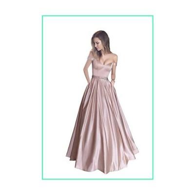 Harsuccting Off The Shoulder Beaded Satin Evening Prom Dress with Pocket Blush Pink 12並行輸入品