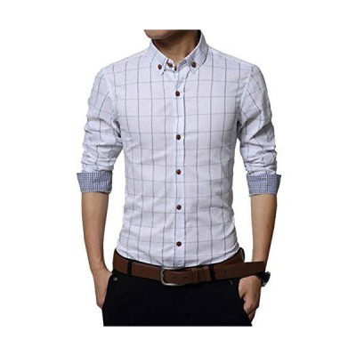 チェック ワイシャツ メンズ カジュアル 人気 かっこいい スレンダー お洒落 ボタンダウン 長袖 スリム yシャツ (NAIL39) (ホ